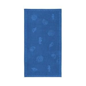 Modrá bavlněná osuška Seahorse Shells, 200x100cm