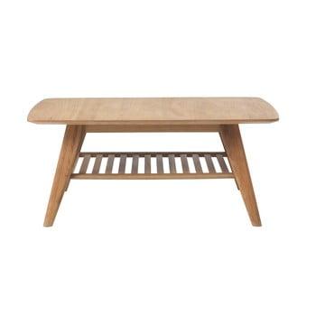 Măsuță de cafea cu raft din lemn de stejar alb Unique Furniture Rho