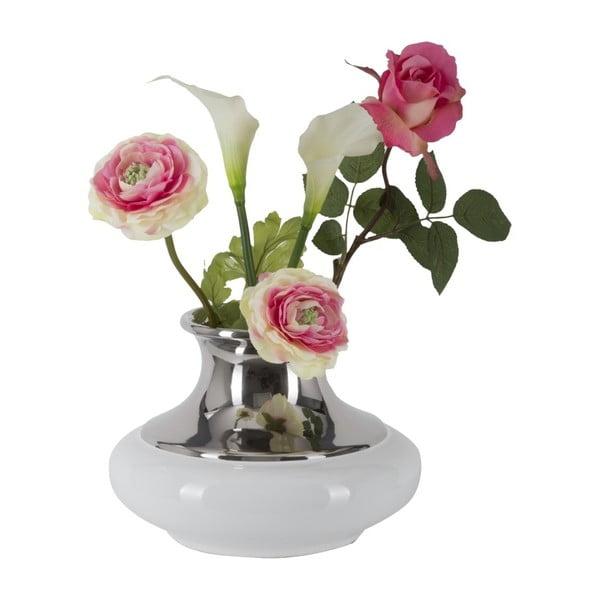 Bílostříbrná keramická váza Mauro Ferretti Convex