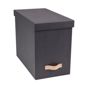 Šedý úložný box na dokumenty s koženým úchytem Bigso