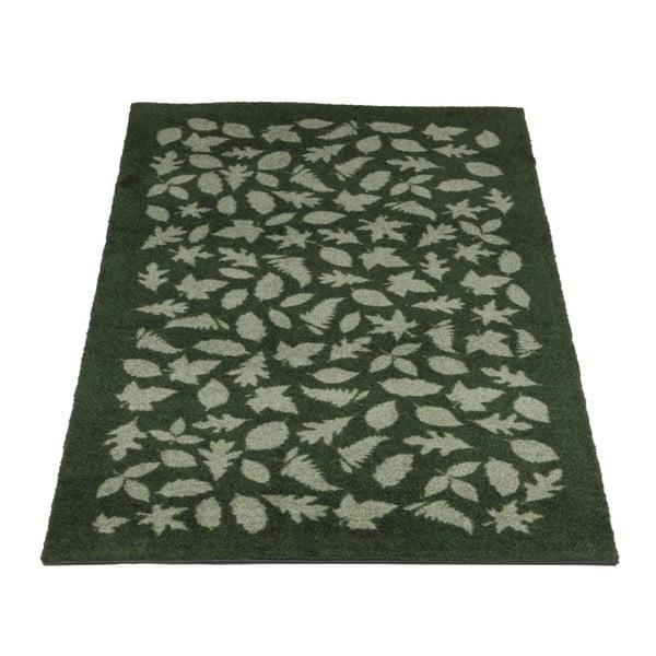 Tmavě zelená rohožka Tica Copenhagen Leafes, 67x120cm