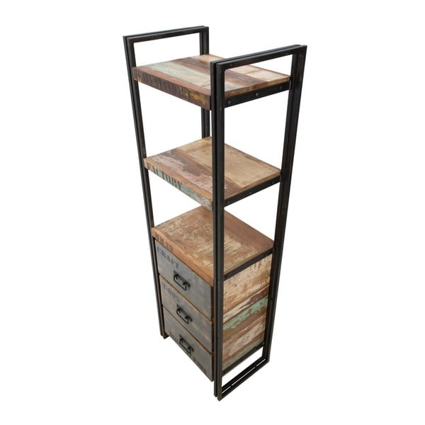 Knihovna z kovu se šuplíky z recyklovaného dřeva Mauro Ferrati, 60 x 180 cm