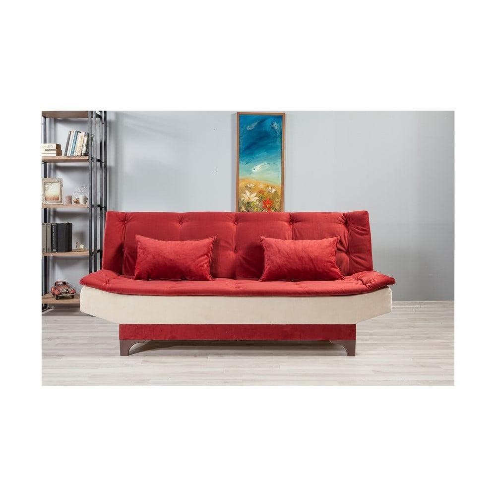 Červeno-bílá rozkládací pohovka Ersi Unique Design