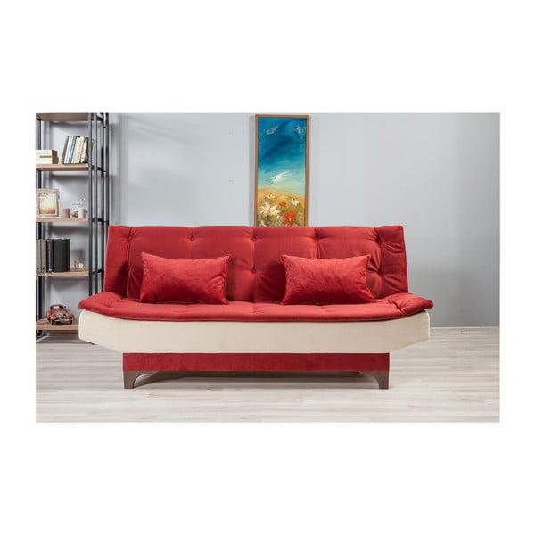 Canapea extensibilă Ersi, alb-roșu