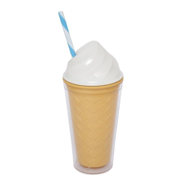 Pahar cu pereți dubli Sunnylife Ice Cream, 470 ml, alb