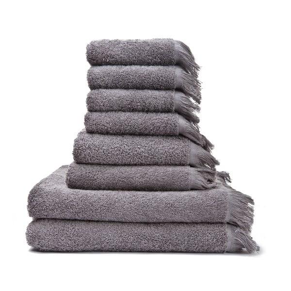 Set 6 sivých bavlnených uterákov a 2 osušiek Casa Di Bassi Bath