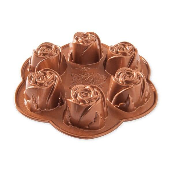 Formă pentru 6 mini-prăjituri Nordic Ware Rose, 1,4 l, auriu