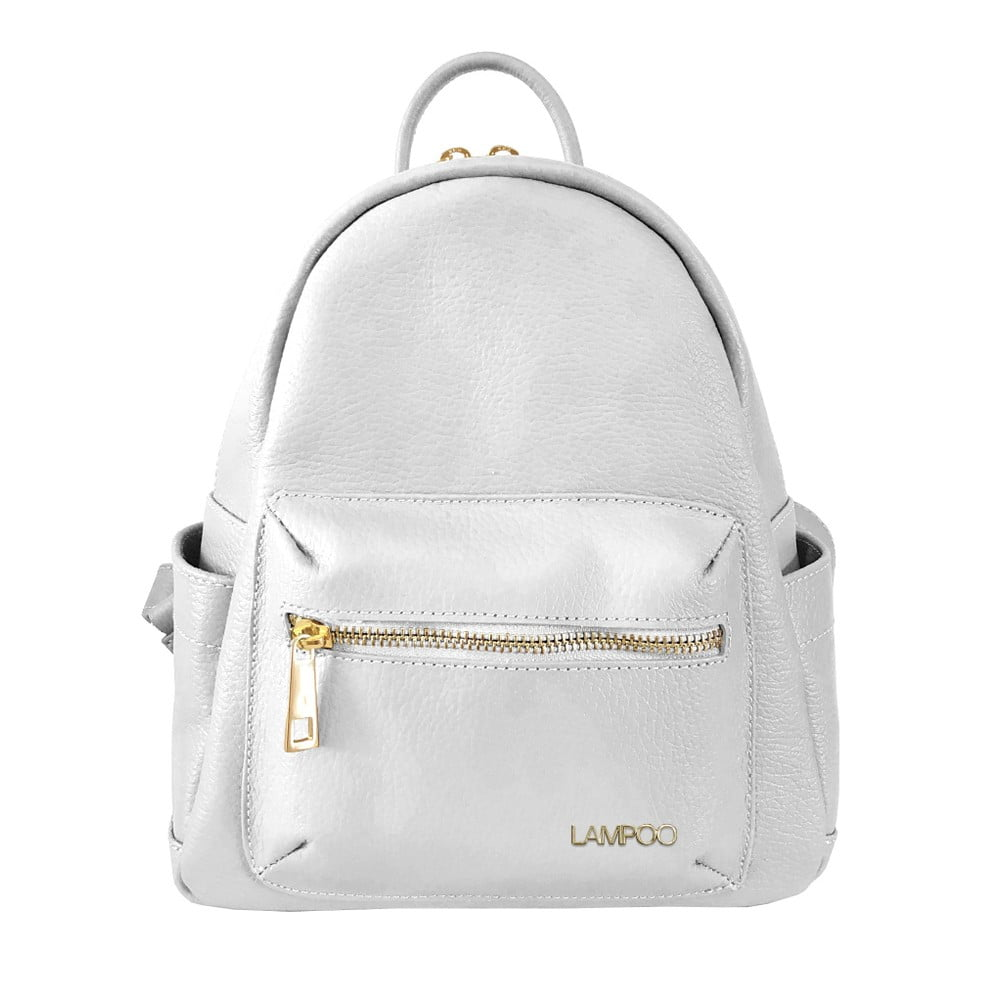 Bílý kožený batoh Lampoo Lunda
