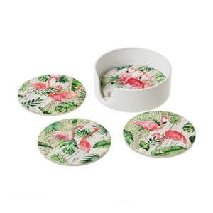 Sada 4 keramických podtácků Unimasa Flamingos
