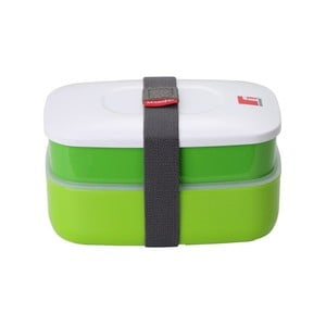 Zelený svačinový box s příborem Bergner Lunch Time