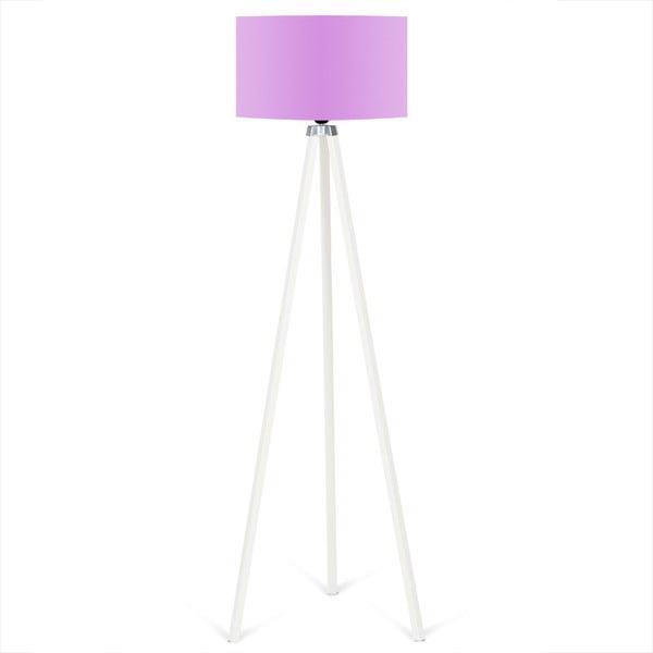 Bílá volně stojící lampa se světle fialovým stínítkem Kate Louise Beyaz