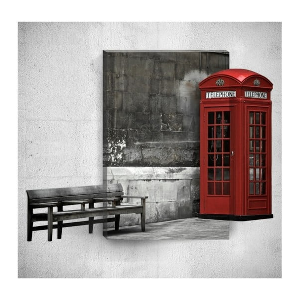 Red Telephone Booth 3D fali kép, 40 x 60 cm - Mosticx