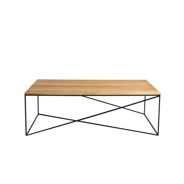 Konferenční stolek s černou konstrukcí a deskou v dekoru dubového dřeva Custom Form Memo, délka140cm