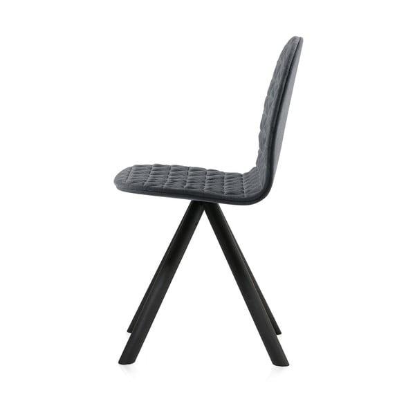Scaun cu picioare negre Iker Mannequin Triangle, gri închis