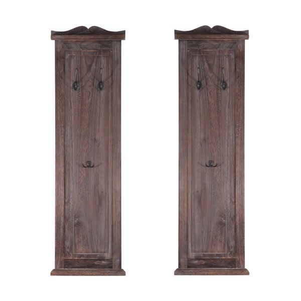 Sada 2 hnědých dřevěných věšáků Mendler Shabby