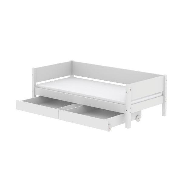 Białe łóżko dziecięce z 2 szufladami Flexa White Single, 90x200 cm