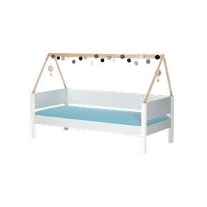 Bílá dětská postel s rámem pro stříšku z bukového dřeva a bezpečnostními pelestmi Manis-h Vidar, 90x200cm