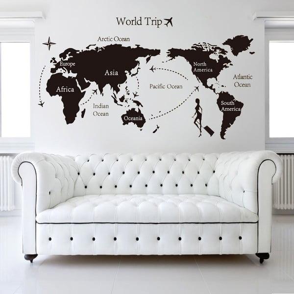 Samolepka na zeď World Trip, 90x60 cm