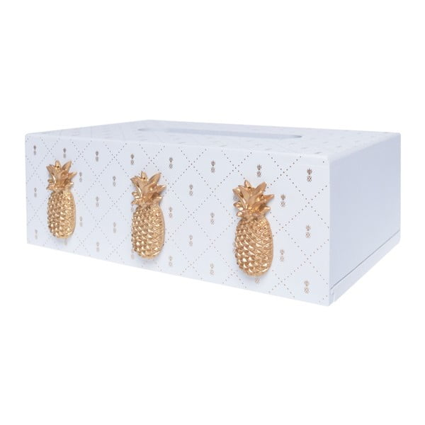 Bílá dřevěná krabička na kapesníky Ewax Ananas, 24 x 14 x 8 cm