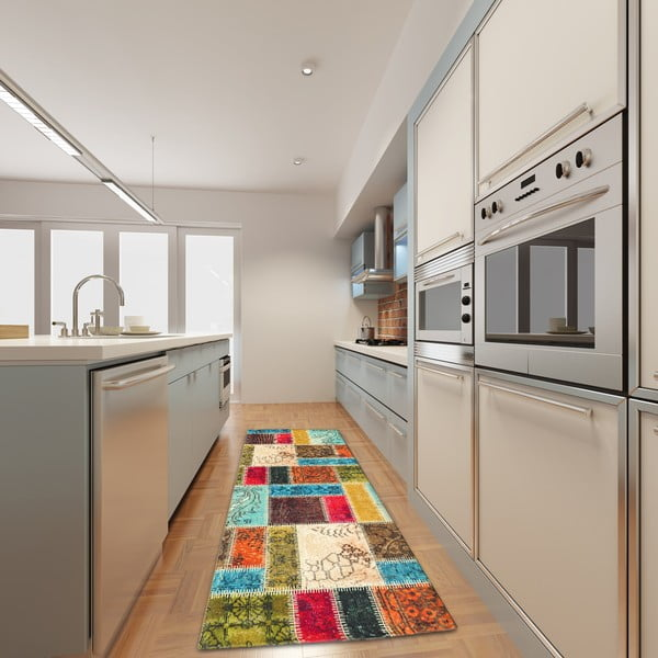 Vysokoodolný kuchynský behúň Webtappeti Patchwork, 60×140cm