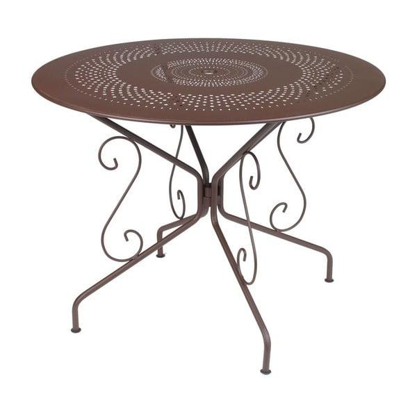Hnědý kovový stůl Fermob Montmartre, Ø96cm