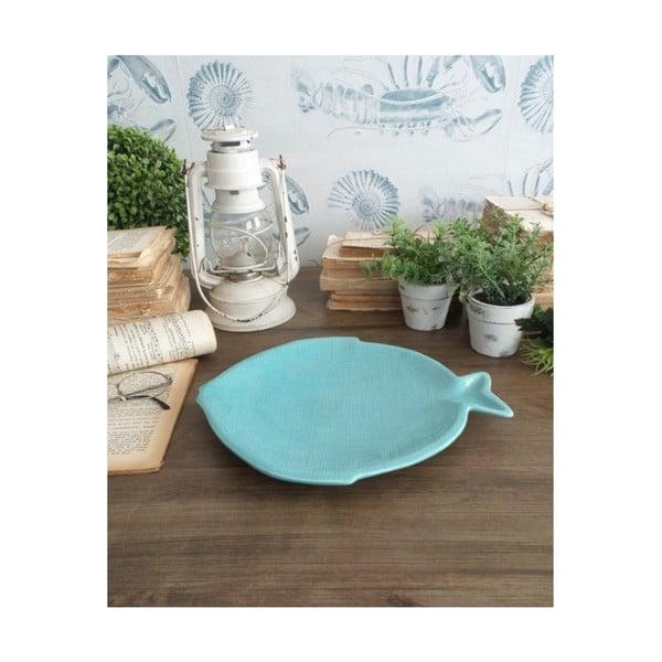 Sada 6 tyrkysových keramických talířů Orchidea Milano Big Fish