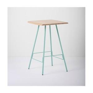 Barový stolek s deskou z masivního dubového dřeva a zelenými nohami Gazzda Leina
