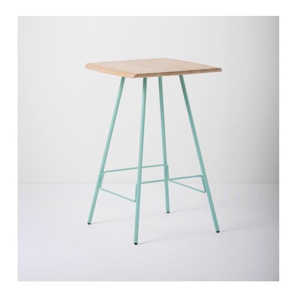 Barový stolík s doskou z masívneho dubového dreva a zelenými nohami Gazzda Leina