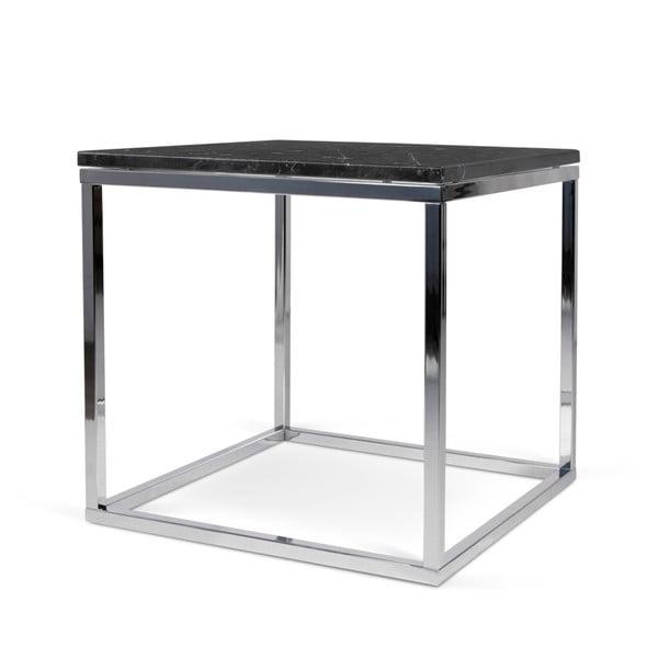 Konferenční stolek s chromovaným podnožím a černou mramorovou deskou TemaHome Prairie, 50 x 50 cm