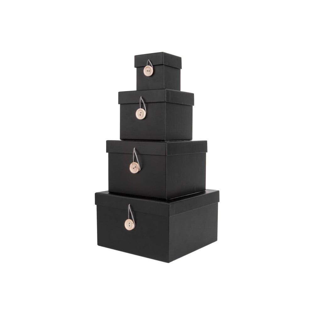 Sada 4 černých úložných boxů s víkem PT LIVING Uniform