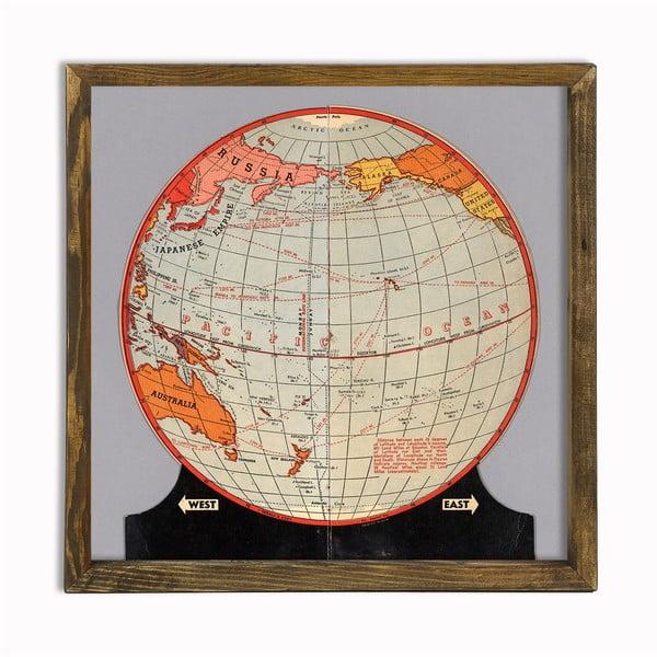 Globe fakeretes fali kép, 50 x 50 cm