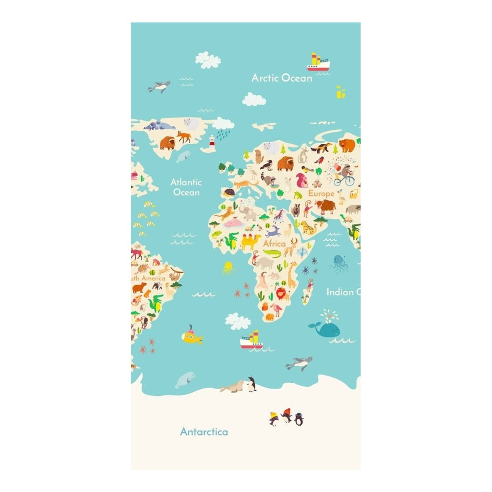 Plážová osuška s potiskem HIP Worldmap, 150 x 75 cm