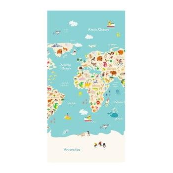 Prosop de plajă cu imprimeu Good Morning Worldmap, 150 x 75 cm imagine