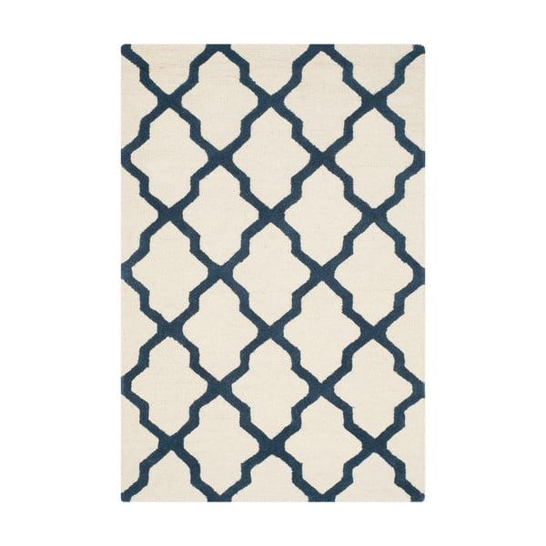 Vlněný koberec Ava 91x152 cm, bílý/modrý