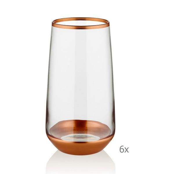 Sada 6 skleniček Mia Glam Bronze, 380 ml
