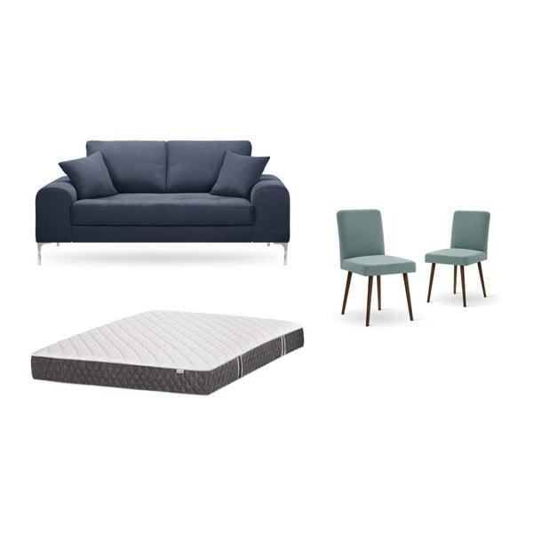 Set canapea albastru închis, 2 scaune gri-verde, o saltea 140 x 200 cm Home Essentials