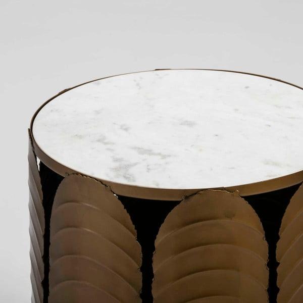 Šedý odkládací stolek s mramorovou deskou a konstrukcí ve zlaté barvě Thai Natura, ⌀41cm
