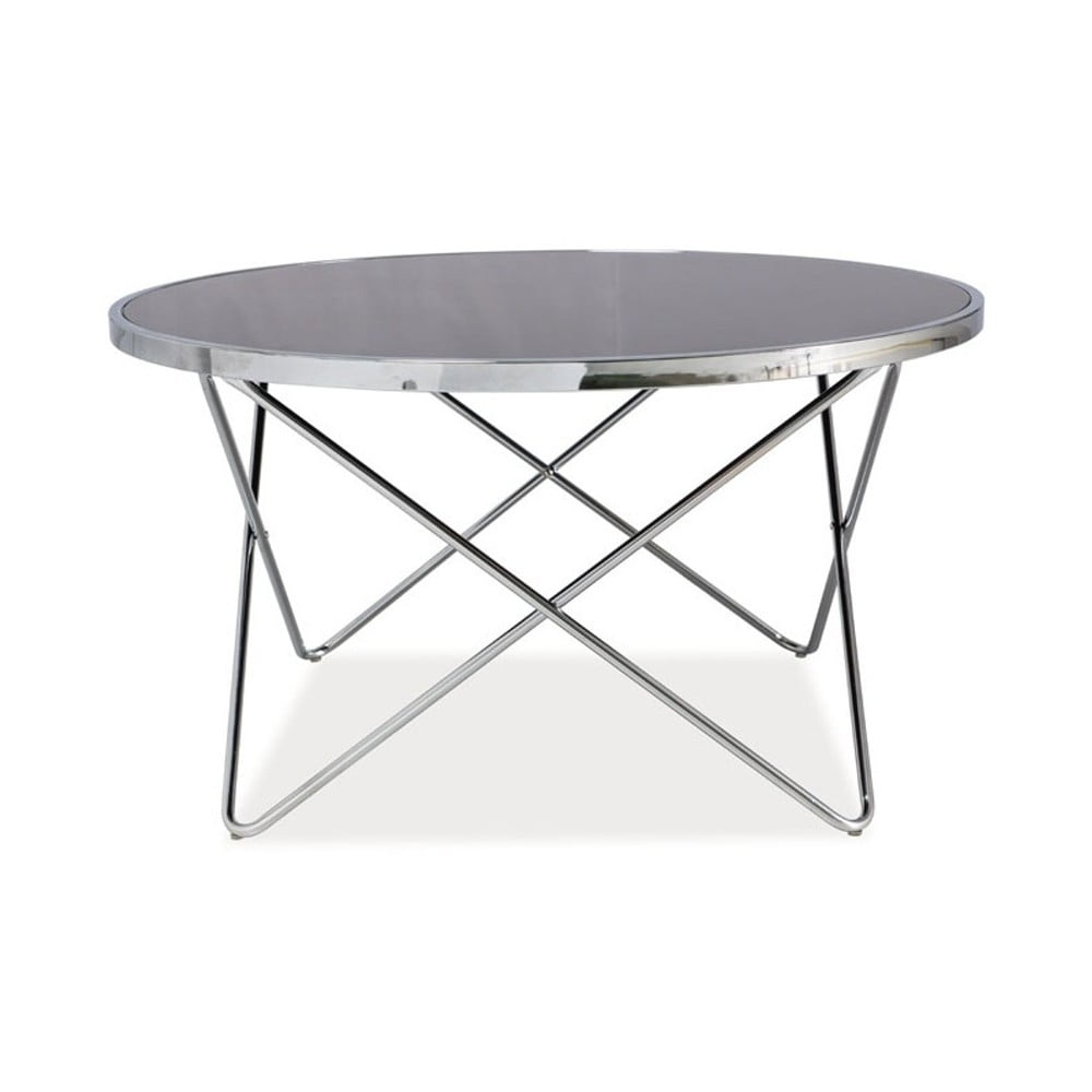 Konferenční stolek se skleněnou deskou a chromovou konstrukcí Signal Fabia, ⌀85cm