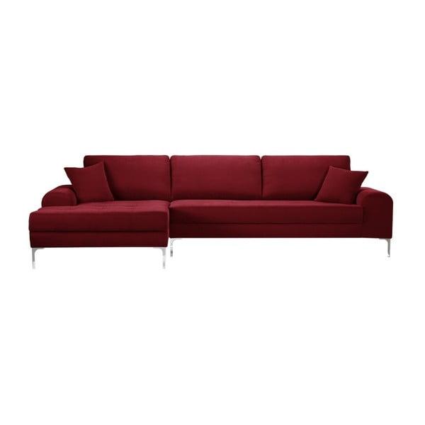 Set canapea roșie cu șezlong pe partea stângă, 4 scaune gri antracit și saltea 160 x 200 cm Home Essentials