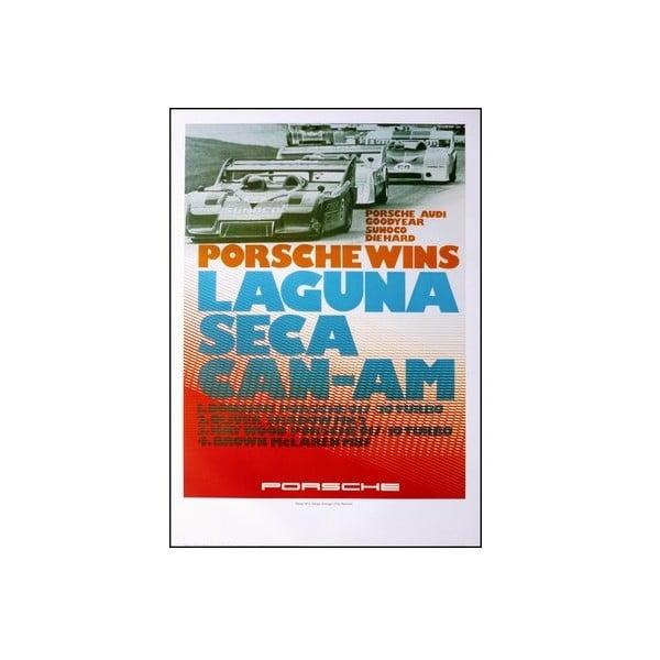 Plakát Porsche Sieg Bei Laguna Seca 1973, 70x50 cm