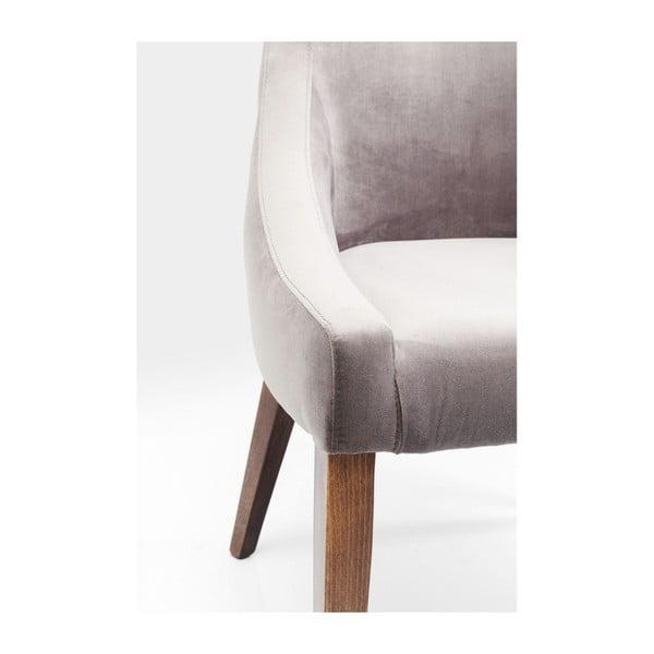Šedé křeslo s nožičkami z bukového dřeva Kare Design Mode