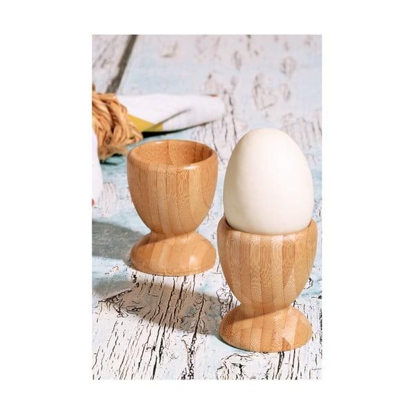 Sada 2 stojanov na vajíčka z bambusového dreva Kutahya, Ø 6 cm