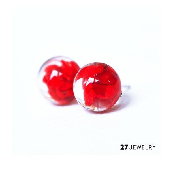 Červené náušnice ze skla Enamor