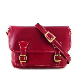 Červená kožená kabelka Luciano Calboni Maria