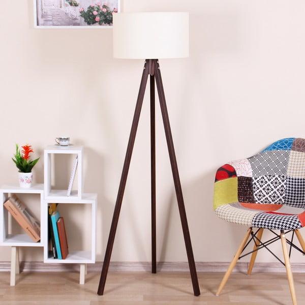 Hnědá volně stojící lampa s béžovým stínítkem Kate Louise Celina