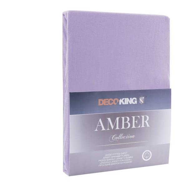 Fialové elastické prostěradlo DecoKing Amber Collection, 220-240 x 200 cm