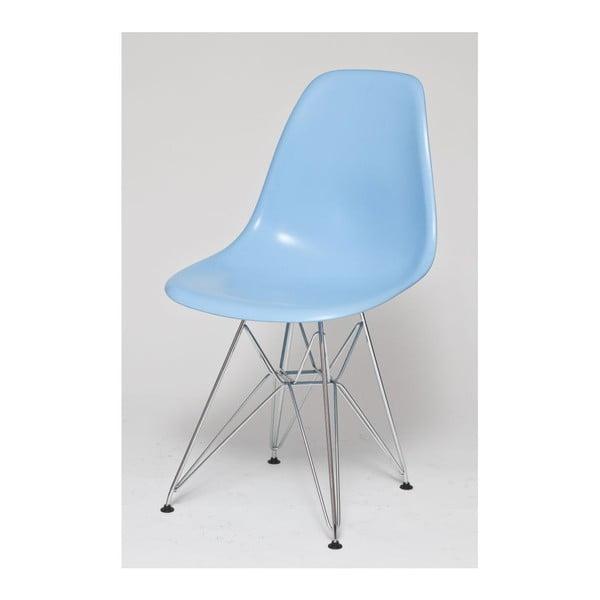 Modrá židle, chromové nohy