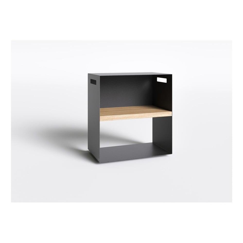 Černý noční stolek s deskou z dubového dřeva Take Me HOME, 50 x 30 cm