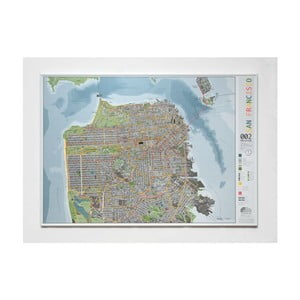 Mapa San Francisca The Future Mapping Company Street Map, 100 x 70 cm