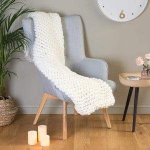 Bílý pletený přehoz Le Studio XXL Knitting Throw, 127 x 152 cm